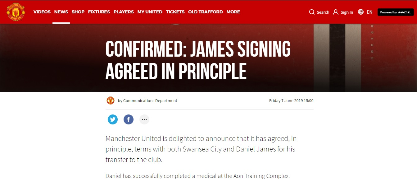 Daniel has successfully completed a medical at the Aon Training Complex
